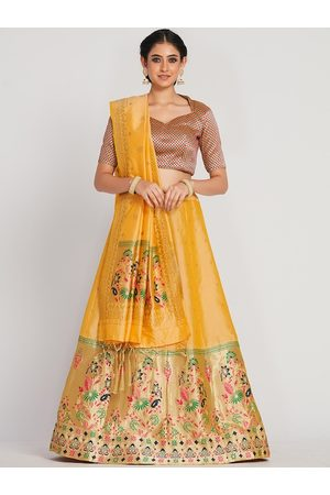 Mimosa Women Gold-Coloured & Yellow Woven-Design Semi-Stitched Lehenga With Unstitched Blouse & Dupatta