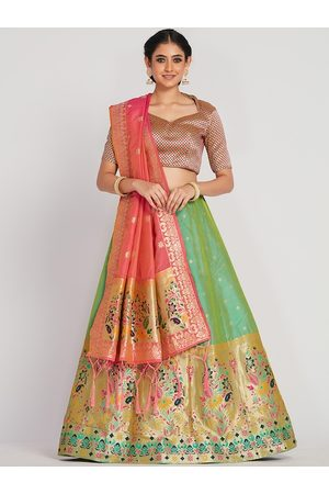 Mimosa Women Pink & Green Zari Woven Design Semi-Stitched Lehenga & Unstitched Choli with Dupatta