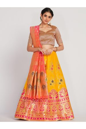 Mimosa Women Coral-Red & Yellow Woven-Design Semi-Stitched Lehenga With Unstitched Blouse & Dupatta