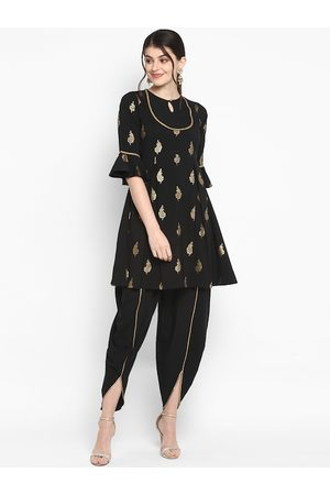 Janasya Women Trousers - Women Black & Gold-Toned Printed Kurta with Dhoti Pants