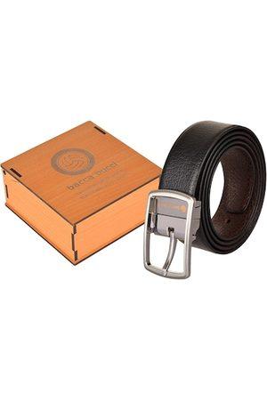 bacca bucci Men Black & Brown Solid Reversible Leather Belt