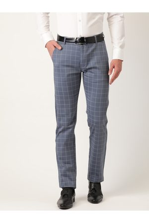 HANCOCK Men Grey & White Original Slim Fit Checked Formal Trousers