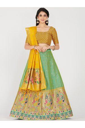 Mimosa Women Lehenga - Women Yellow & Green Embellished Semi-Stitched Lehenga Choli Set