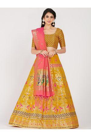Mimosa Women Yellow & Gold-Toned Zari Woven Design Semi-Stitched Lehenga & Unstitched Choli with Dupatta