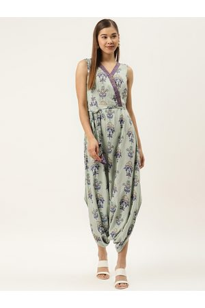 MABISH by Sonal Jain Women Green & Blue Printed Wrap Drop Crotch Jumpsuit With Belt