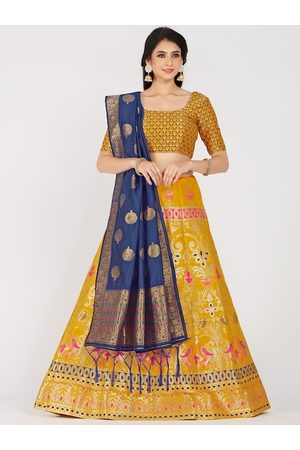 Mimosa Women Yellow & Navy Zari Woven Design Semi-Stitched Lehenga & Unstitched Choli with Dupatta