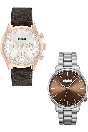UNLISTED A KENNETH COLE PRODUCTION Men Set Of 2 White & Brown Analogue Watch UL51145004