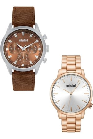 UNLISTED A KENNETH COLE PRODUCTION Men Set Of 2 Brown & Silver-Toned Watch UL51145005