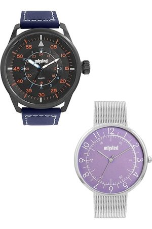 UNLISTED A KENNETH COLE PRODUCTION Men Set of 2 Black & Purple Analogue Watch UL51149005