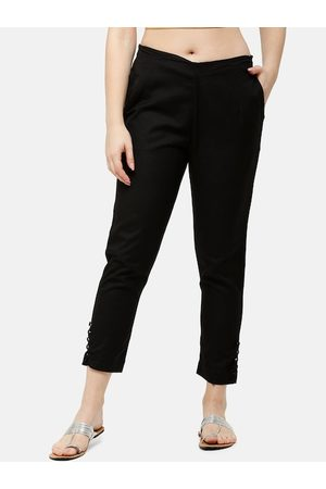 De Moza Women Black Slim Fit Solid Regular Trousers