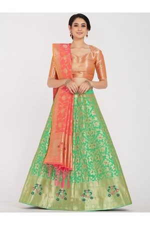 Mimosa Women Green & Coral-Red Woven-Design Semi-Stitched Lehenga & Unstitched Blouse with Dupatta