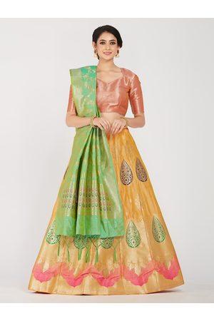Mimosa Women Yellow & Orange Woven Design Semi-Stitched Lehenga With Unstitched Blouse & Dupatta