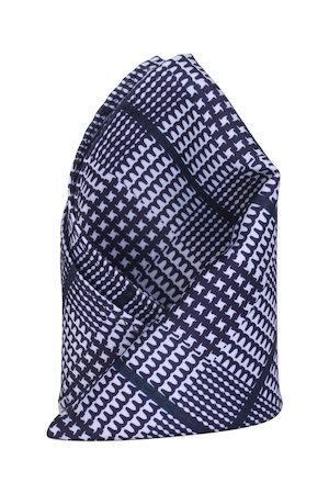 Alvaro Castagnino Blue & White Checked Pocket Square