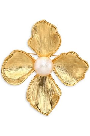 Kenneth Jay Lane Pins - Brushed Goldtone & Faux Pearl Large Flower Pin