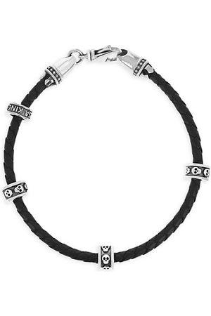 King Baby Studio Onyx Story Leather & Sterling Mirco Stackable Skull Rings Wrap Bracelet