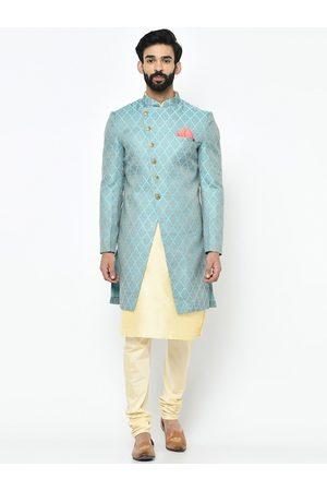KISAH Men Blue & Cream Sherwani Set