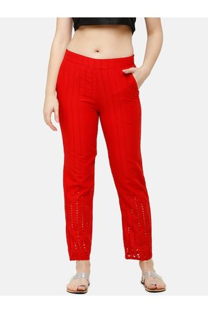 De Moza Women Red Slim Fit Embroidered Cotton Regular Trousers
