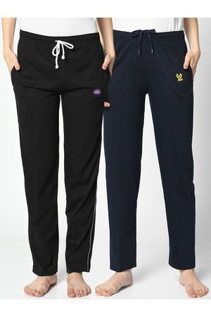 VIMAL JONNEY Women Pack of 2 Black & Navy Blue Solid Lounge Pants