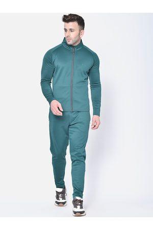 CHKOKKO Men Green Solid Tracksuit