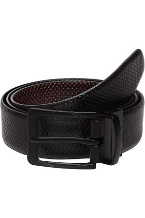 WELBAWT Men Black & Brown Textured Leather Reversible Belt