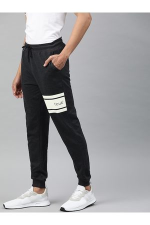French Connection Men Charcoal Grey Solid Joggers with Melange Effect