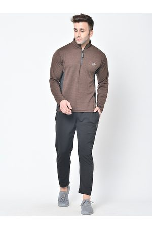 CHKOKKO Men Brown & Black Solid Tracksuit