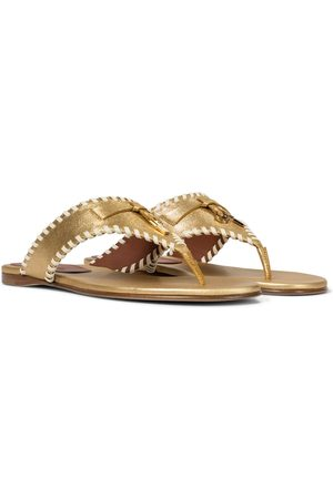Loro Piana Women Platform Sandals - Jovis metallic leather thong sandals