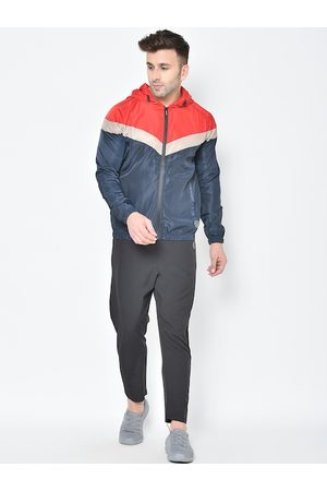 CHKOKKO Men Tracksuits - Men Red & Blue Colourblocked Tracksuit