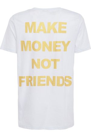 MAKE MONEY NOT FRIENDS Logo Print Cotton Jersey T-shirt
