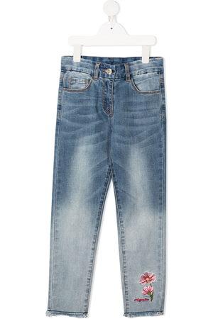 MONNALISA Girls Slim - Slim-fit floral embroidered jeans