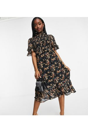 Missguided Midi dress with high neck in floral