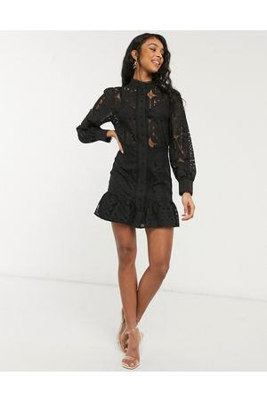 In The Style Women Dresses - X Lorna Luxe geo lace puff sleeve mini dress in