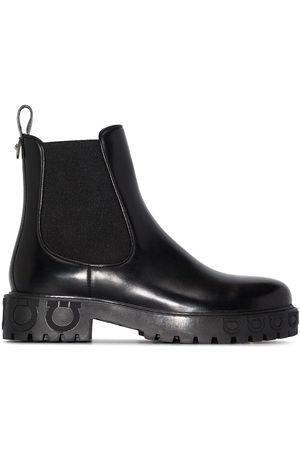 Salvatore Ferragamo Gancini logo detail Chelsea boots