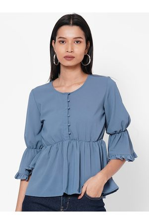 MISH Women Blue Solid Cinched Waist Top