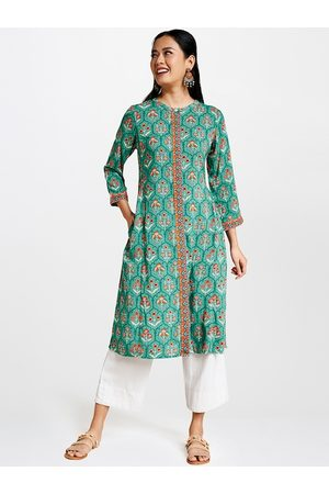 Global Desi Women Sea Green & Orange Floral Printed A-Line Kurta