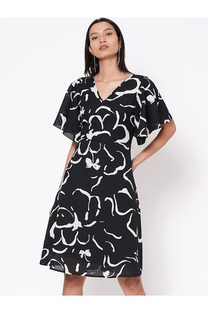 MISH Women Black Printed A-Line Dress