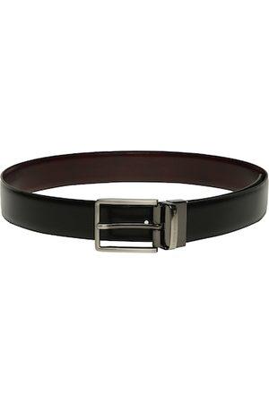 Louis Philippe Men Belts - Men Black & Brown Solid Reversible Leather Belt
