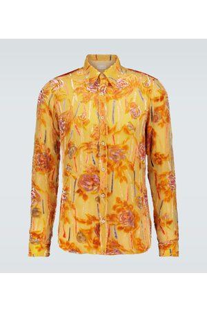 DRIES VAN NOTEN Men Long sleeves - Transparent silk printed shirt