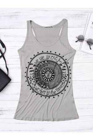 YOINS Women Vests - Disk Letter Pattern Round Neck Casual Tank Top