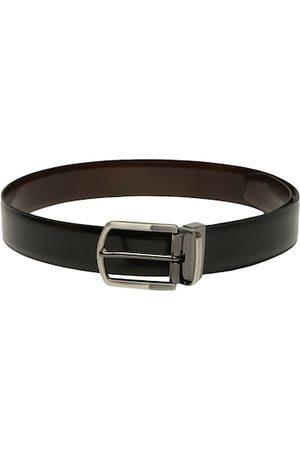 Louis Philippe Men Black & Brown Solid Reversible Leather Belt