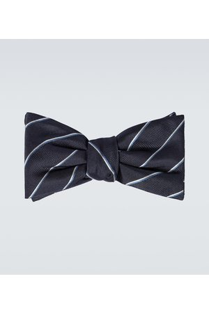 Alexander McQueen Men Neckties - Striped silk bowtie