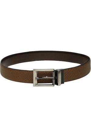 Louis Philippe Men Tan Brown Textured Reversible Leather Belt