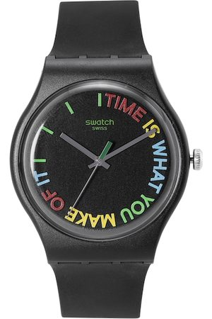 Swatch Unisex Black & Red Printed Analogue Watch