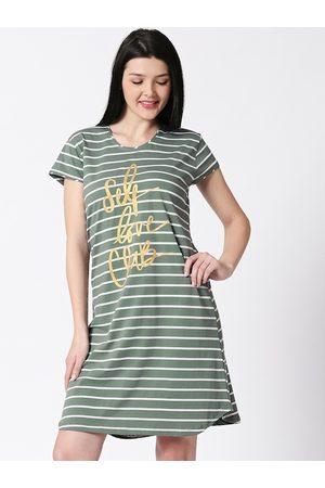 I like me Women Olive Green & White Striped Nightdress