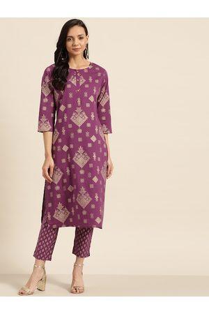 Sangria Women Purple & Golden Printed Kurta with Trousers