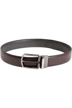 Louis Philippe Men Belts - Men Black & Brown Textured Reversible Leather Belt