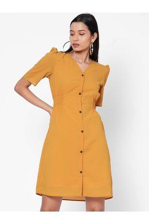 MISH Women Mustard Solid A-Line Dress