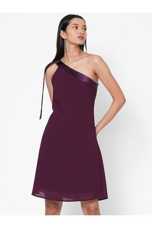 MISH Women Purple Solid A-Line Dress