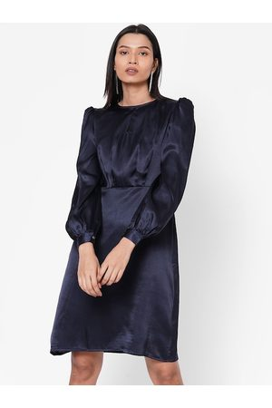 MISH Women Dresses - Women Navy Blue Solid Fit and Flare Dress