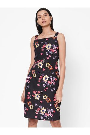 MISH Women Black Floral Printed Sheath Dress